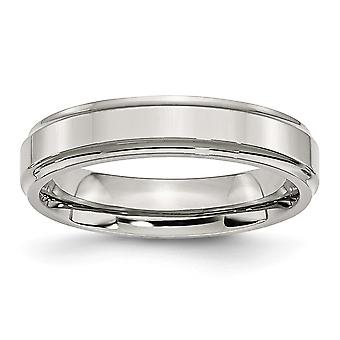 Stainless Steel Engravable Ridged-edge 5mm Polished Band Ring - Ring Size: 6 to 13