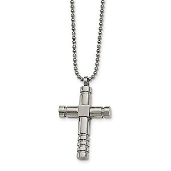 Stainless Steel Brushed Polished Cross Necklace - 22 Inch