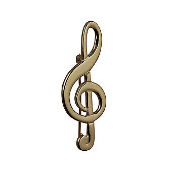 9ct Gold 50x20mm G Clef Brooch