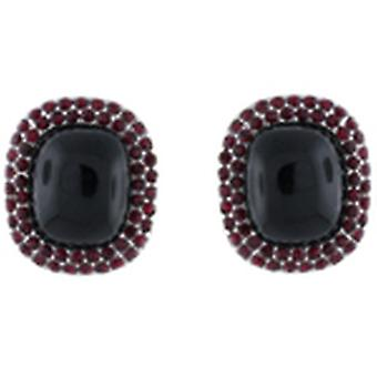 Clip On Earrings Store Large Black Bead & Ruby Red Crystal Oval Button Clip On E