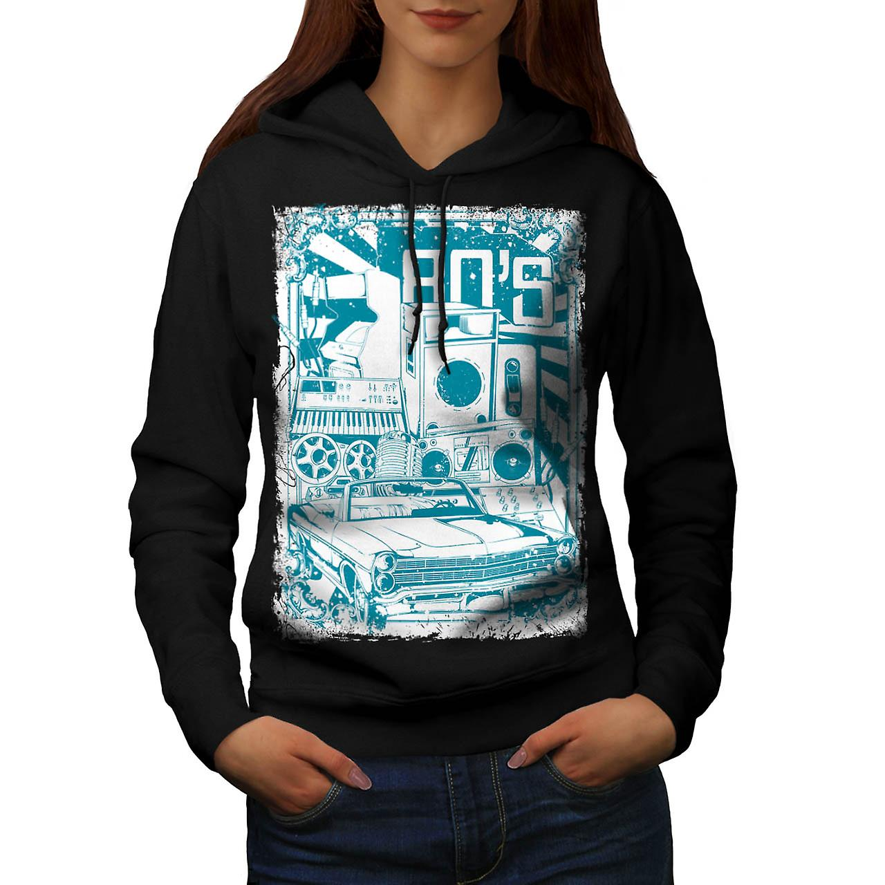 80s Music Car Vintage Women Black Hoodie | Wellcoda