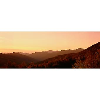 Sunset over a landscape Kancamagus Highway New Hampshire USA Poster Print