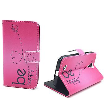 Mobile phone case pouch for mobile Samsung Galaxy S4 be happy pink