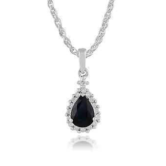 9ct witgoud 0.77ct natuurlijke Sapphire & Diamond Pear Cluster hanger aan ketting