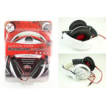 Audio Lab Superior Sound Over Ear Headphones Stereo Folding White Red Wire