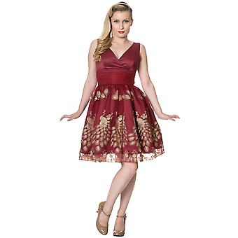Dancing Days Burgundy Moonlight Escape Cross Front Dress XS