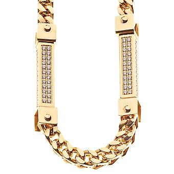 Iced Out Bling CZ STONE Heavy Solid Edelstahl Kette - gold