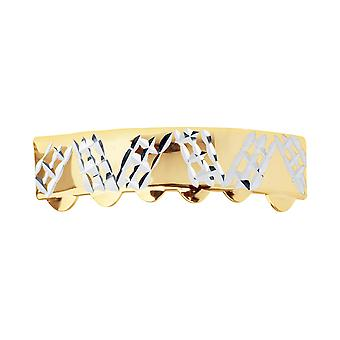 Gold Grillz - one size fits all - Diamond cut Plate - bottom