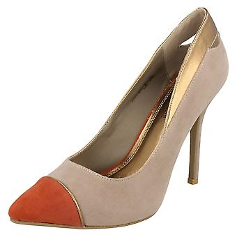 Ladies Spot On High Heel Court Shoes with Coloured Toecap