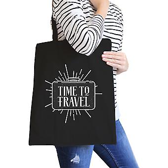 Time To Travel Black Heavy Cotton Eco Friendly Reusable Tote Bag