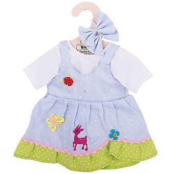 Bigjigs Toys Blue Spotted Rag Doll Dress for 38cm Soft Doll