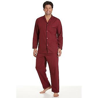 Haigman clásico estilo hombres Borgoña pijamas