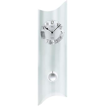 Wall clock with pendulum quartz curved frosted mineral glass