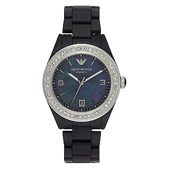 Armani Watches Ar1468 Mother Of Pearl & Black Ceramica Ladies Watch