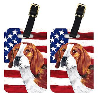 Carolines Treasures  SC9005BT Pair of USA American Flag with Beagle Luggage Tags