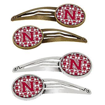 حرف N لكرة القدم قرمزي، الأبيض والرمادي بتعيين من 4 بريتس مقاطع الشعر
