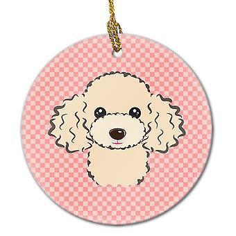 Carolines Treasures  BB1258CO1 Checkerboard Pink Buff Poodle Ceramic Ornament