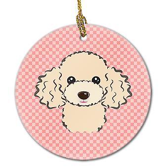 Carolines tesouros BB1258CO1 quadriculado rosa Poodle lustre cerâmica ornamento