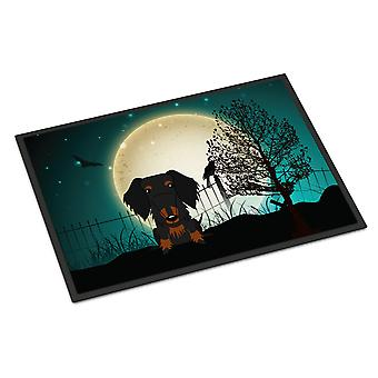 Halloween Scary Wire Haired Dachshund Black Tan Indoor or Outdoor Mat 18x27