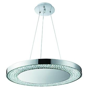 Halo Large Chrome Ring Led Pendant With Glass And Crystals - Searchlight 58880-80cc