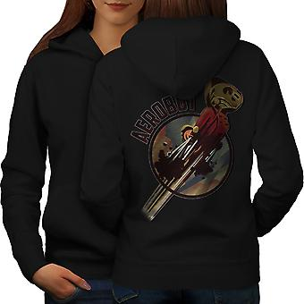 Robot Space Geek Women BlackHoodie Back | Wellcoda