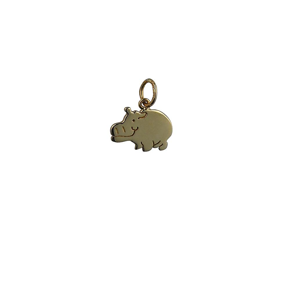 9ct or 14x10mm Hippo Pendant or Charm