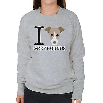 I Heart Greyhounds Women's Sweatshirt