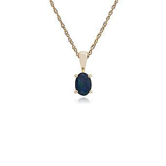 Gemondo 9ct Yellow Gold Triplet Opal Single Stone 45cm Necklace