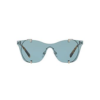 Valentino Metal Mesh Visor Sunglasses In Silver Blue
