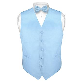 Men's Dress Vest & BOWTie Woven BOW Tie Horizontal Stripe Design Set