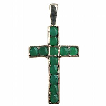 9ct Gold 25x16mm Apostle's Cross set with 12 Green Agate