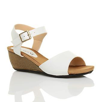 Ajvani damskie platforma środku pięty wedge pracy inteligentnych peep sandały buty