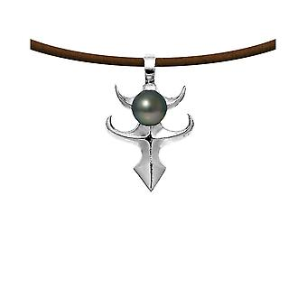 Tribal men's pendant necklace in leather, Tahitian Pearl and Sterling Silver 925