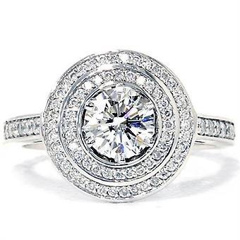 1ct Diamond Double Halo Engagement Ring 14K White Gold