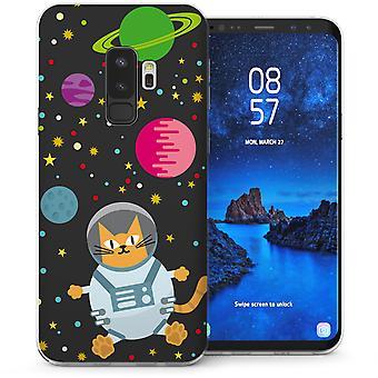 Samsung Galaxy S9 Plus ruimte kat TPU Gel Case - zwart