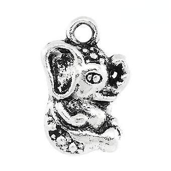 Packet 4 x Antique Silver Tibetan 16mm Elephant Charm/Pendant ZX13160