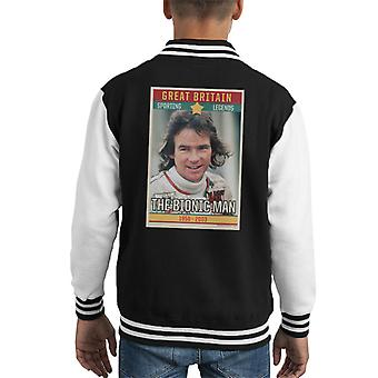 Sportieve legende Poster UK Barry Sheene Bionic Man wereld motorfiets kampioen 1977 Kid's Varsity Jacket