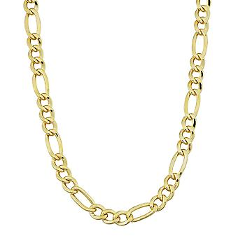 14K Yellow Gold Filled Solid Figaro Chain Necklace, 4.0 mm Wide
