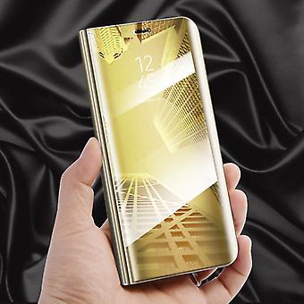 Para la cubierta inteligente del Samsung Galaxy J7 J730F 2017 visión clara espejo espejo oro funda protectora bolsa bolso caso nuevo caso función wake-UP