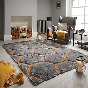 Alfombras punto panal gris ocre rectángulo alfombras llano casi llanos