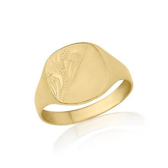 Star Wedding Rings Gold Engraved Cushion-Shaped Signet Ring