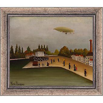Auf die Rahmen-Landschaft mit einem Luftschiff, Henri Rousseau, 61x51cm