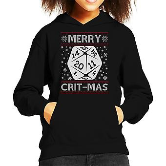 Dungeons And Dragons Merry Critmas Christmas Knit Pattern Kid's Hooded Sweatshirt
