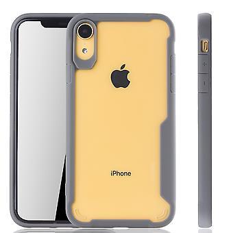 Graue Premium Apple iPhone XR Hybrid-Editon Hülle | Unterstützt Kabelloses Laden | aus edlem Acryl mit weichem Silikonrand Grau