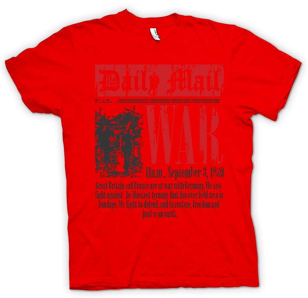 Mens T-shirt - Newspaper - War Declaration Sep 3rd 1939