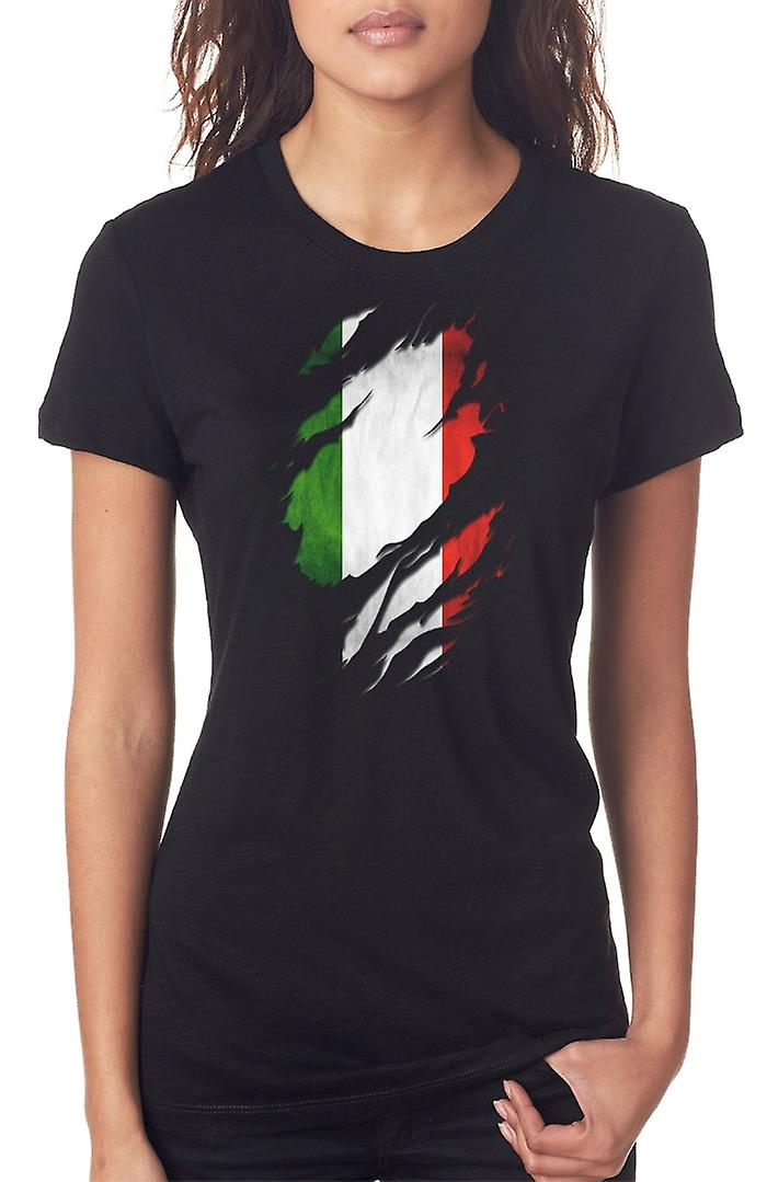 Bandierina di Grunge italiano strappato effetto Ladies T Shirt