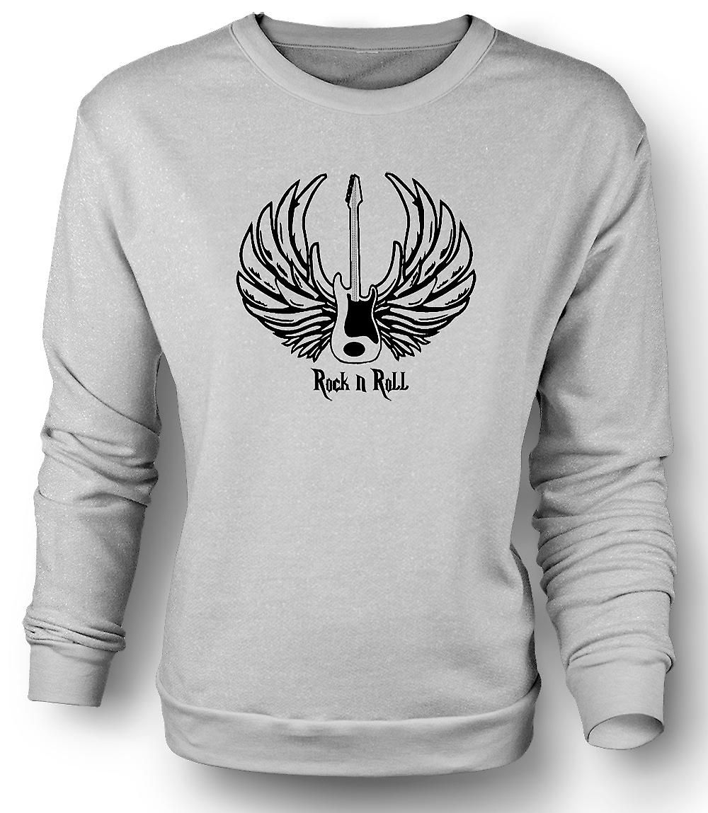 Mens Sweatshirt Rock n Roll - Gitarre Wings - Musik
