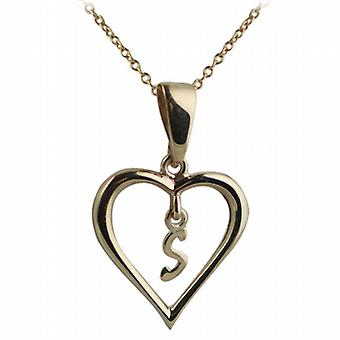 9ct Gold 18x18mm initial S in a heart Pendant with a cable Chain 20 inches