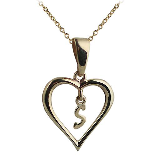 9ct Gold 18x18mm initial S in a heart Pendant with a cable Chain 16 inches Only Suitable for Children