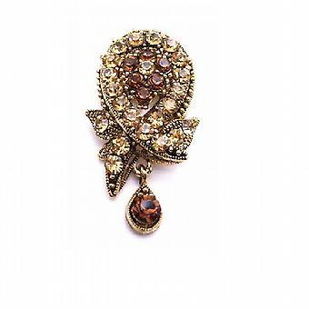 Smoked Topaz Colorado Crystals Filigree Vintage antike Goldbrosche